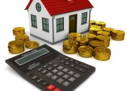House with red roof, calculator, stack of gold coins dollar